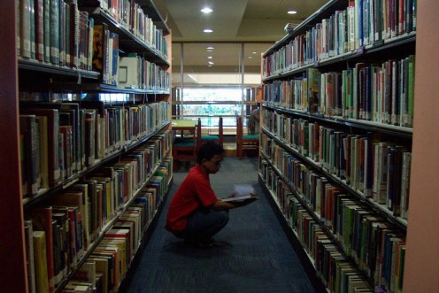Diantara deretan buku di Perpustakaan PendidikanNasional